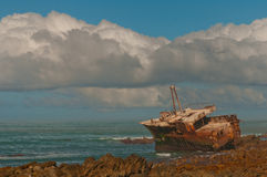 Agulhas ship wreck. One of many ships that ran ashore on the stormy shores of Cape Agulhas Stock Photos