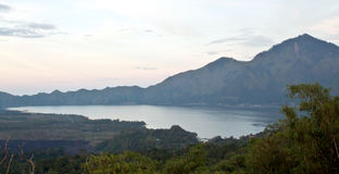 Agung volcano and Batur lake on sunset (Bali, Indonesia) Stock Photo
