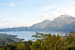 Agung volcano and Batur lake on sunset (Bali island) Stock Photography