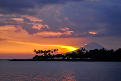 Agung volcano during sunset time Stock Photography