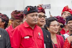 Agus Mahayastra leads a Indonesian Democratic Party of Struggle, PDI-P, at the pre-election meeting in Gianyar, island Bali, Indon. GIANYAR, BALI, INDONESIA Royalty Free Stock Photography