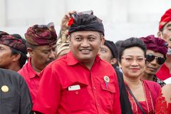 Agus Mahayastra leads a Indonesian Democratic Party of Struggle, PDI-P, at the pre-election meeting in Gianyar, island Bali, Indon. GIANYAR, BALI, INDONESIA Stock Images