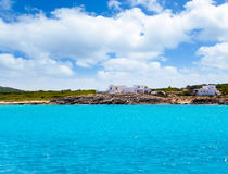 agusti calo es Formentera mieści San morza widok Zdjęcia Stock
