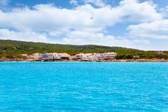 agusti calo es Formentera mieści San morza widok Obrazy Stock