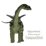 Agustinia Dinosaur with Font. Agustinia was a herbivorous sauropod dinosaur that lived in South America in the Cretaceous Period Stock Images