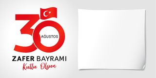 30 Agustos, olsun del kutlu de Zafer Bayrami con los números y la bandera, Victory Day Turkey stock de ilustración
