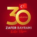 30 Agustos, olsun do kutlu de Zafer Bayrami com números e bandeira, Victory Day Turkey ilustração royalty free