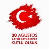30 Agustos Zafer Bayrami Übersetzung: Am 30. August Feier des Sieges und der Nationaltag in der Türkei Lizenzfreie Stockbilder