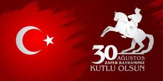 30 Agustos Zafer Bayrami Übersetzung: Am 30. August Feier des Sieges und der Nationaltag in der Türkei vektor abbildung