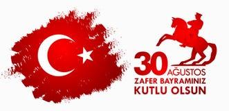 30 Agustos Zafer Bayrami Übersetzung: Am 30. August Feier des Sieges und der Nationaltag in der Türkei Lizenzfreies Stockbild