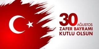 30 Agustos Zafer Bayrami Übersetzung: Am 30. August Feier des Sieges und der Nationaltag in der Türkei Lizenzfreie Stockfotos