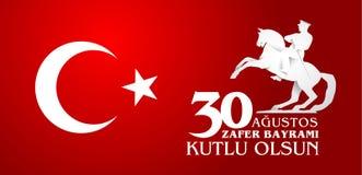 30 Agustos Zafer Bayrami Übersetzung: Am 30. August Feier von Lizenzfreie Stockbilder