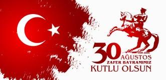 30 Agustos Zafer Bayrami Перевод: Торжество 30-ое августа победы и национальный праздник в Турции Стоковое Фото