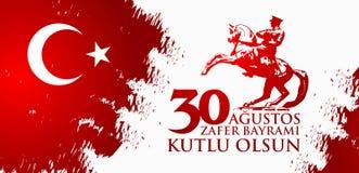 30 Agustos Zafer Bayrami Перевод: Торжество 30-ое августа победы и национальный праздник в Турции Стоковые Изображения