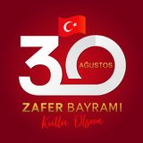 30 Agustos, Zafer Bayrami kutluolsun med nummer och flaggan, Victory Day Turkey royaltyfri illustrationer