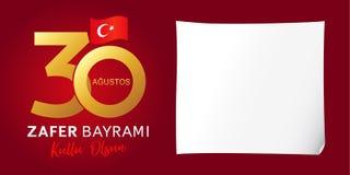 30 Agustos, Zafer Bayrami kutluolsun med nummer och flaggan, Victory Day Turkey vektor illustrationer