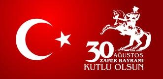 30 Agustos Zafer Bayrami Tradução: Celebração do 30 de agosto da vitória e o dia nacional em Turquia Fotografia de Stock Royalty Free