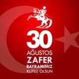 30 Agustos Zafer Bayrami Tradução: Celebração do 30 de agosto da vitória e o dia nacional em Turquia Foto de Stock Royalty Free