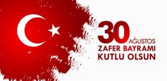 30 Agustos Zafer Bayrami Tradução: Celebração do 30 de agosto da vitória e o dia nacional em Turquia Imagem de Stock Royalty Free