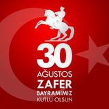 30 Agustos Zafer Bayrami Traduction : Célébration du 30 août de victoire et le jour national en Turquie Illustration de Vecteur