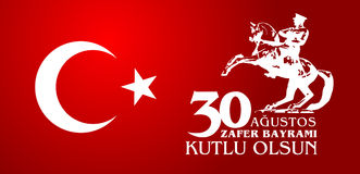 30 Agustos Zafer Bayrami Traduzione: Celebrazione del 30 agosto della vittoria e la festa nazionale in Turchia Fotografia Stock Libera da Diritti