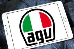 AGV helmet manufacturer logo. Logo of AGV helmet manufacturer on samsung tablet.  AGV is an Italian motorcycle helmet firm Royalty Free Stock Images