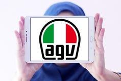 AGV helmet manufacturer logo. Logo of AGV helmet manufacturer on samsung tablet holded by arab muslim woman. AGV is an Italian motorcycle helmet firm Royalty Free Stock Image