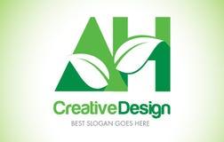 AH πράσινο λογότυπο σχεδίου επιστολών φύλλων Βιο εικονίδιο Illus επιστολών φύλλων Eco διανυσματική απεικόνιση