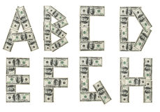 Ah. Banknote alphabet. Money background. Very useful Royalty Free Stock Photos