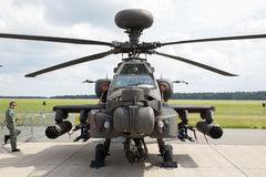AH-64 Apache attack helicopter. BERLIN - JUN 2, 2016: British Army AH-64D attack helicopter on display at the Berlin ILA Airshow Royalty Free Stock Images
