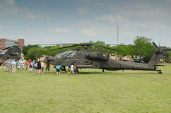 AH-64 Apache Helicopter display. Apache Helicopter display in camp Mabry in Austin, Texas during an event on 26-27 April,2014 Stock Image