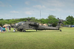 AH-64 Apache Helicopter display. Apache Helicopter display in camp Mabry in Austin, Texas during an event on 26-27 April,2014 Stock Photo