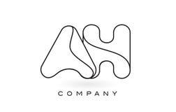 AH contorno del profilo di Logo With Thin Black Monogram della lettera del monogramma Immagine Stock