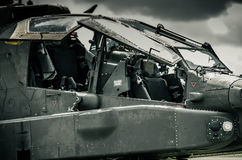 AH-64D Apache. View on the working place of the pilot and gunner Royalty Free Stock Photography