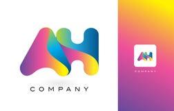 AH de Mooie Kleuren van Logo Letter With Rainbow Vibrant Kleurrijk t Stock Foto's