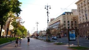 Ah, Kiev... A main street Khreschatyk of a beautiful Ukrainian capital - Kiev Royalty Free Stock Photos