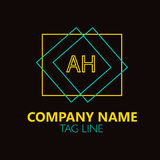 AH Letter Logo Design. Sign, symbol, element isolated on black background Royalty Free Stock Photo