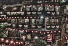 Ah Mei Tea House, Jiufen Taiwan. Night Scene at Ah Mei Tea House, Jiufen Taiwan Stock Photo