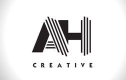 AH progettazione di Logo Letter With Black Lines Linea vettore Illus della lettera Fotografia Stock