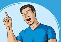Aha guy. Comic dude with an aha moment Stock Photos