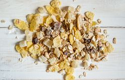 Ahandful of cereals on a light background royalty free stock photos