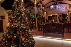 AHANGAMA,斯里兰卡- 2016年12月10日:洞察Ahangama旅馆内部  免版税库存图片
