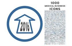 2016 Ahead Arrow Rounded Icon with 1000 Bonus Icons Stock Image