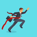 Ahead of the competition concept, man is victoriously running ahead of his rivals. Colorful vector flat illustration Royalty Free Stock Photos