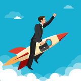 Ahead concept, man is victoriously flying with the rocket ahead of all rivals Royalty Free Stock Photo