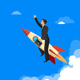 Ahead concept, man is victoriously flying with the rocket ahead of all rivals Royalty Free Stock Photos