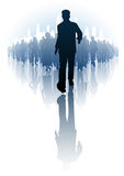 Ahead of the crowd. Editable vector illustration of a businessman walking infront of a crowd of people Royalty Free Stock Photos