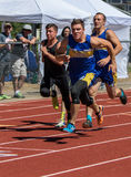 Ahead on the Curve. Track and field action at an invitational in Redding, California royalty free stock image