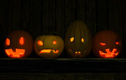 Ahead of Halloween. 3d illustration. Of four pumpkins Jack who have different moods, executed in dark tones Stock Photo
