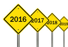 2016 Ahead. Image to use in an optimistic view on year 2016. Can be also used for review of the year 2016 Royalty Free Stock Images